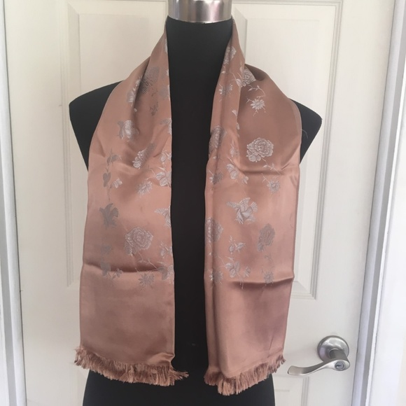 Vintage Other - Men's Brown and Silver Reversible Opera Scarf